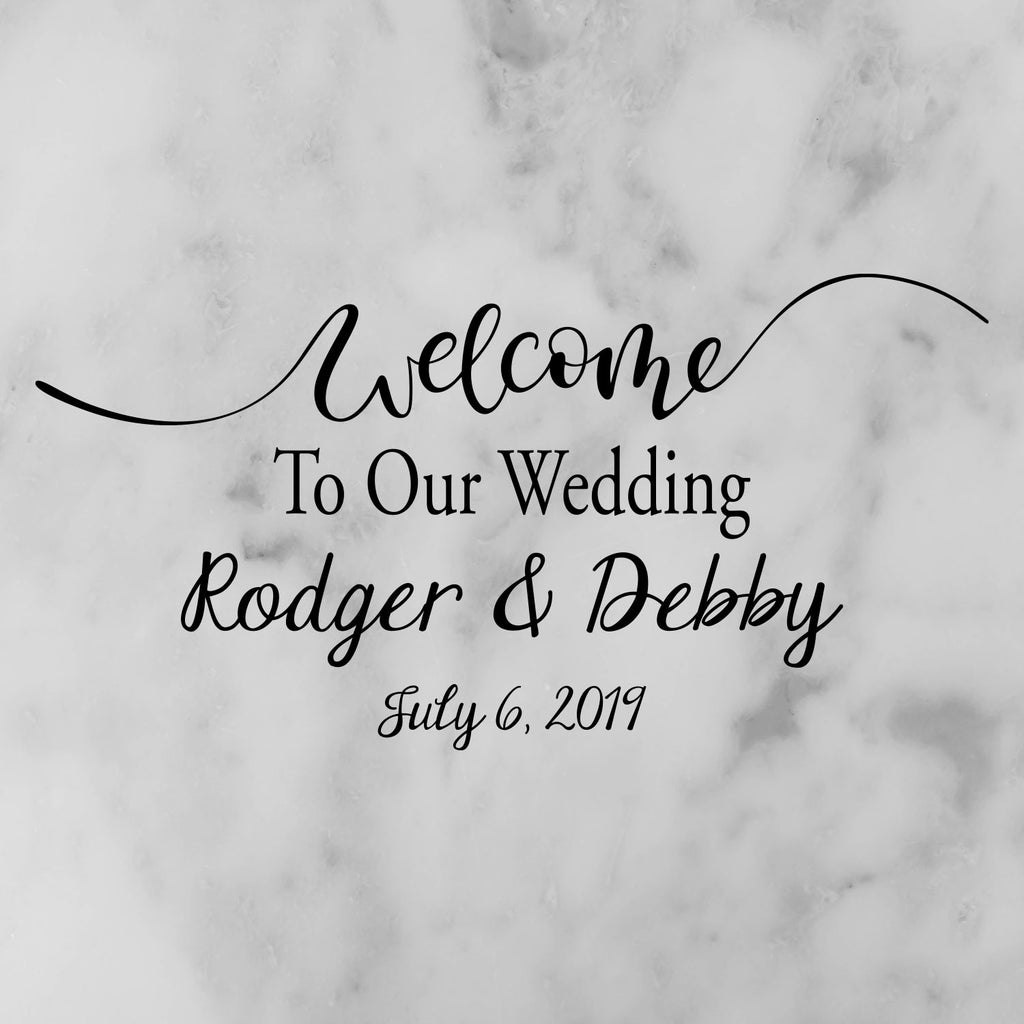 Personalized Names Wedding Wall Decal - Removable Custom Wedding Floor Decal