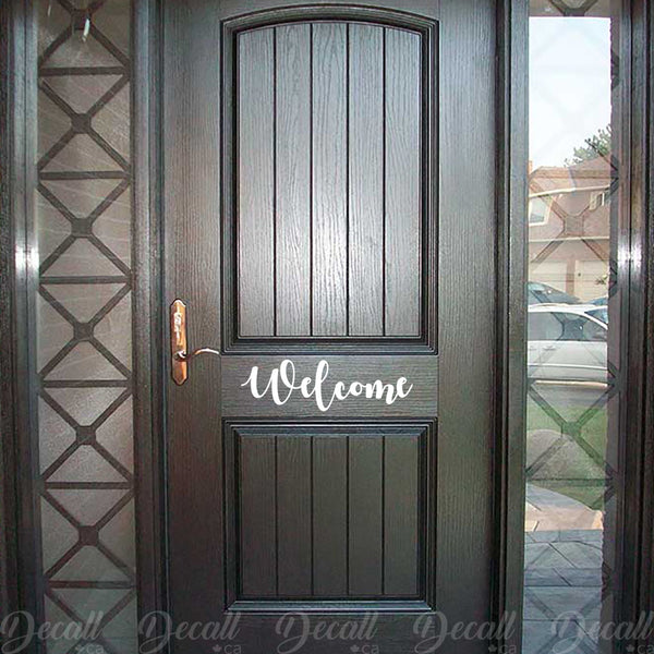 Welcome Door Decal - Welcome Decal - Welcome Vinyl Decal - Welcome Wall Decal - Wall-Decals - Decall.ca
