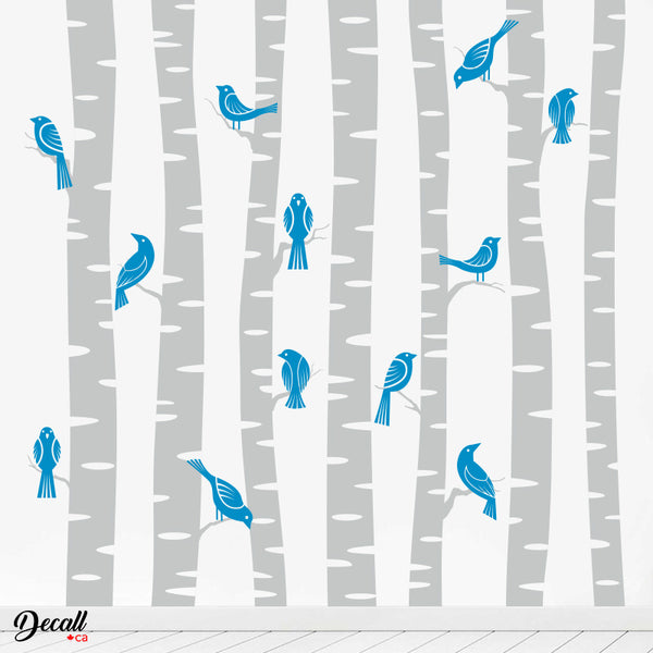 7 White Birch Trees With Birds - Wall Decal Graphic - Wall-Decals - Decall.ca