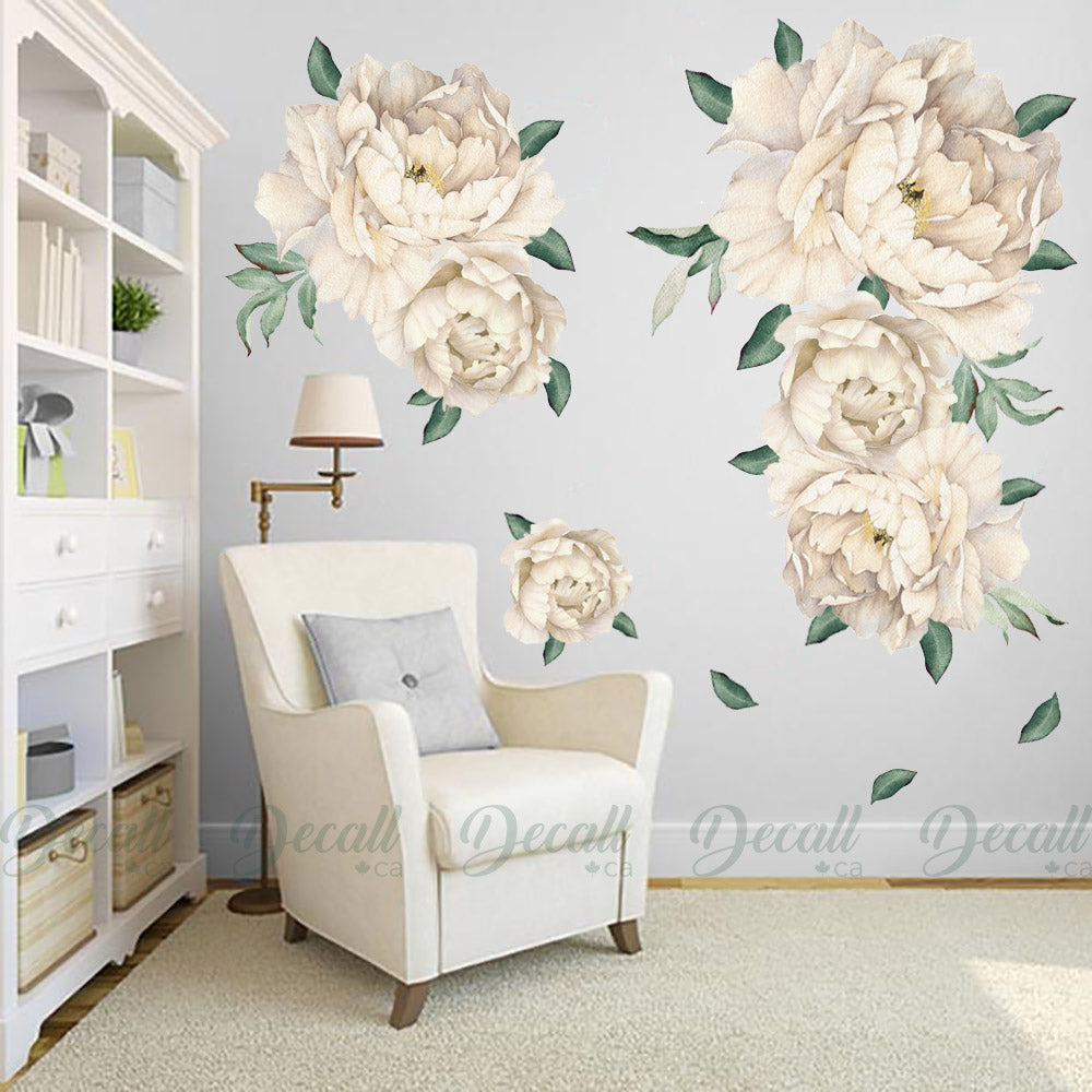 White Peony Flowers Wall Sticker - Vintage Watercolor - Peel and Stick Reusable Wall Stickers - DWS1043 - Wall-Stickers - Decall.ca