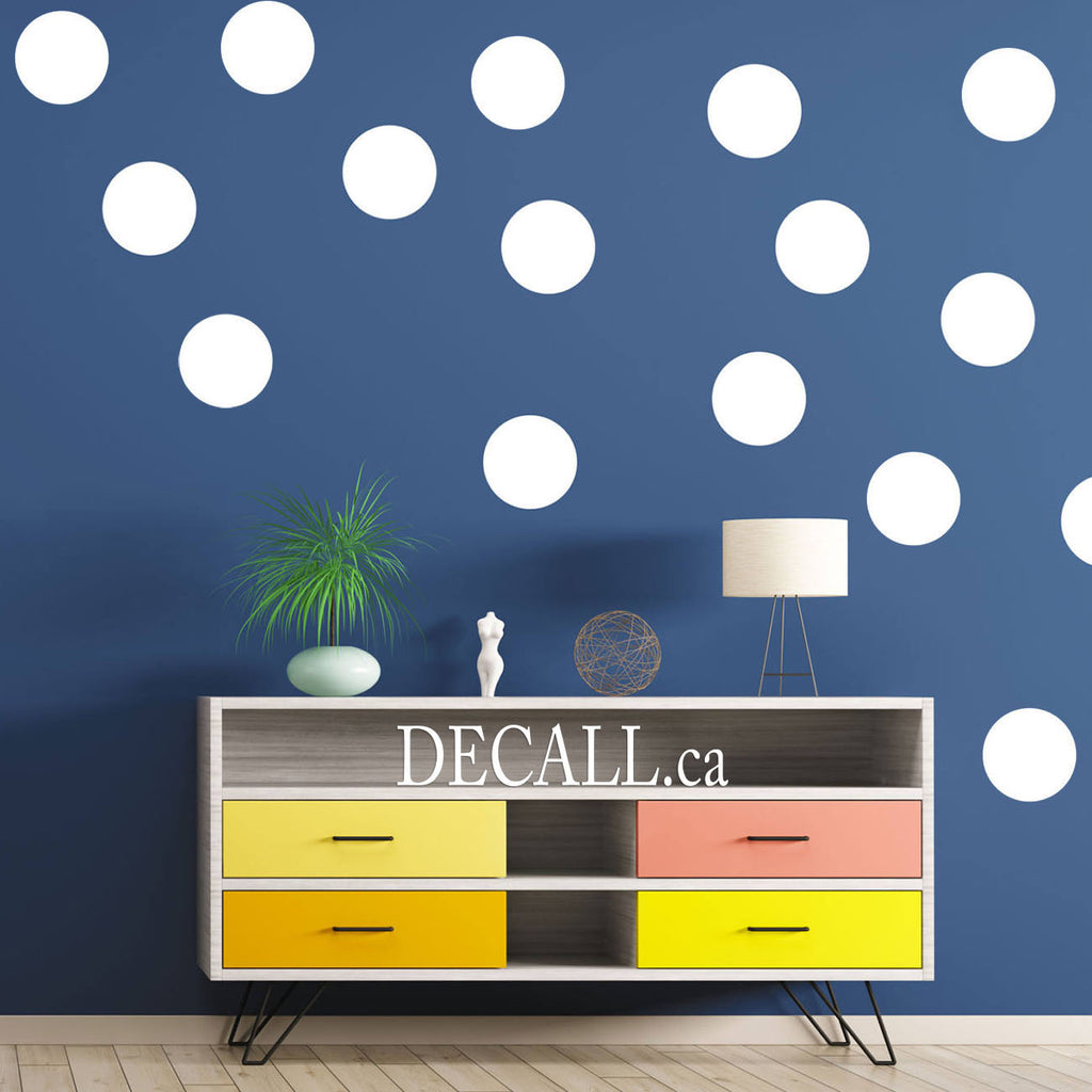 White Polka Dot Wall Decals - Reusable Polka Dots Wall Stickers - DWS1151