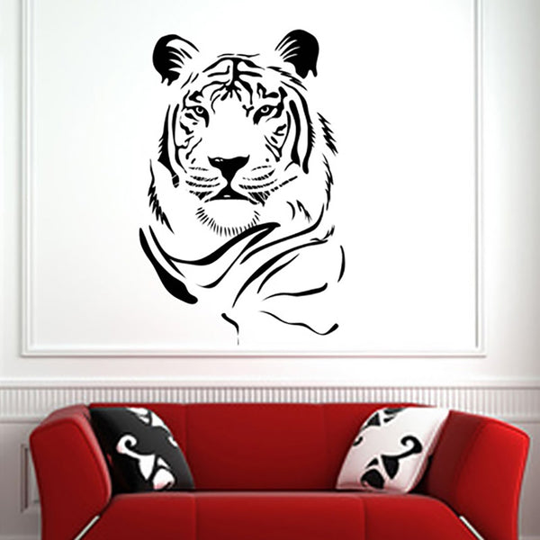 White Tiger Head - Wall Decal Sticker Graphic - Wall-Decals - Decall.ca
