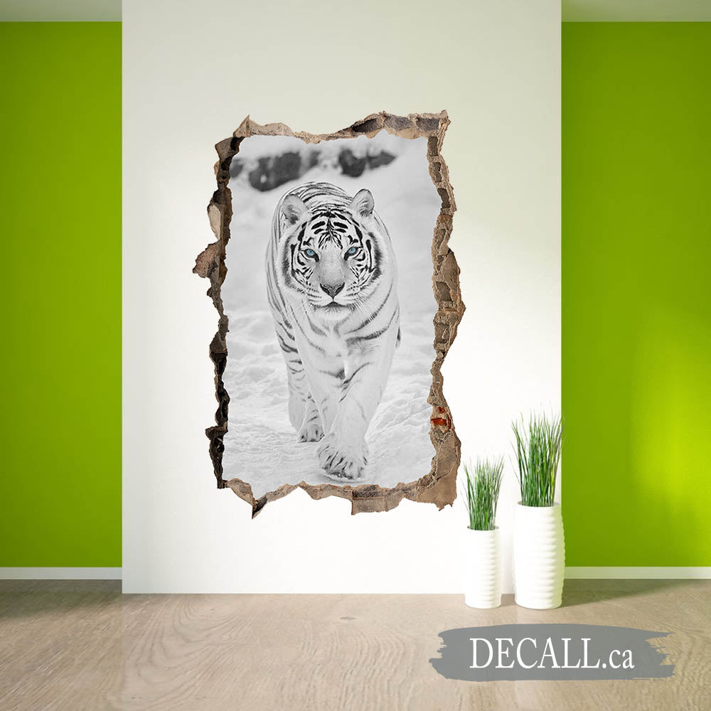 Wild Snow Tiger Come Out From Broken Wall In Winter 3D Broken Wall Sticker DWS1219
