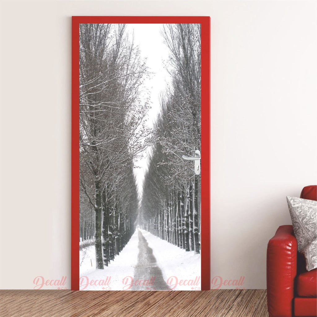 Winter Forest Trail Door Mural - Door-Murals - Decall.ca