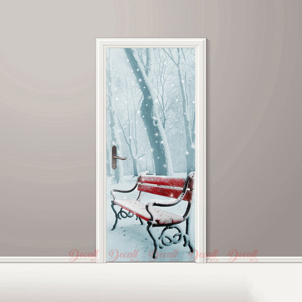 Winter Snow Scenery Door Mural - Door-Murals - Decall.ca