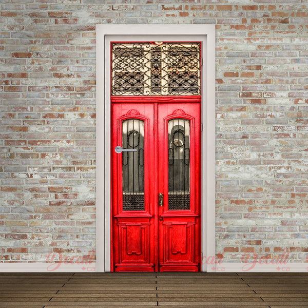 Wooden Red Door Door Mural - Door-Murals - Decall.ca
