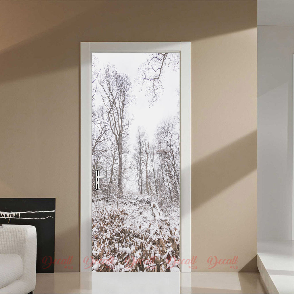Woods In The Snowy Winter Door Mural - Door-Murals - Decall.ca