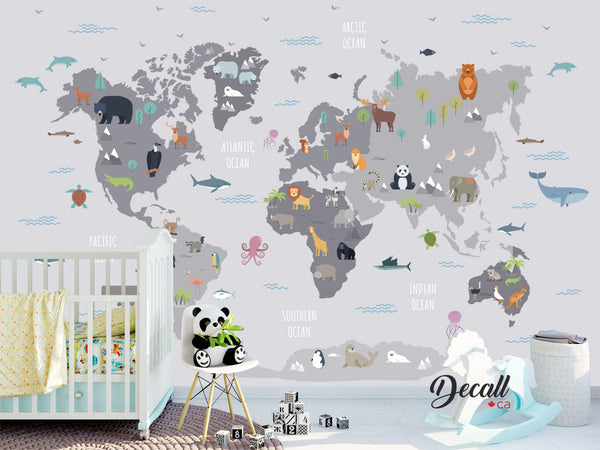 Animal World Map Wall Mural - Kids Country World Map - Peel and Stick Wall Poster Sticker - Wall-Murals - Decall.ca