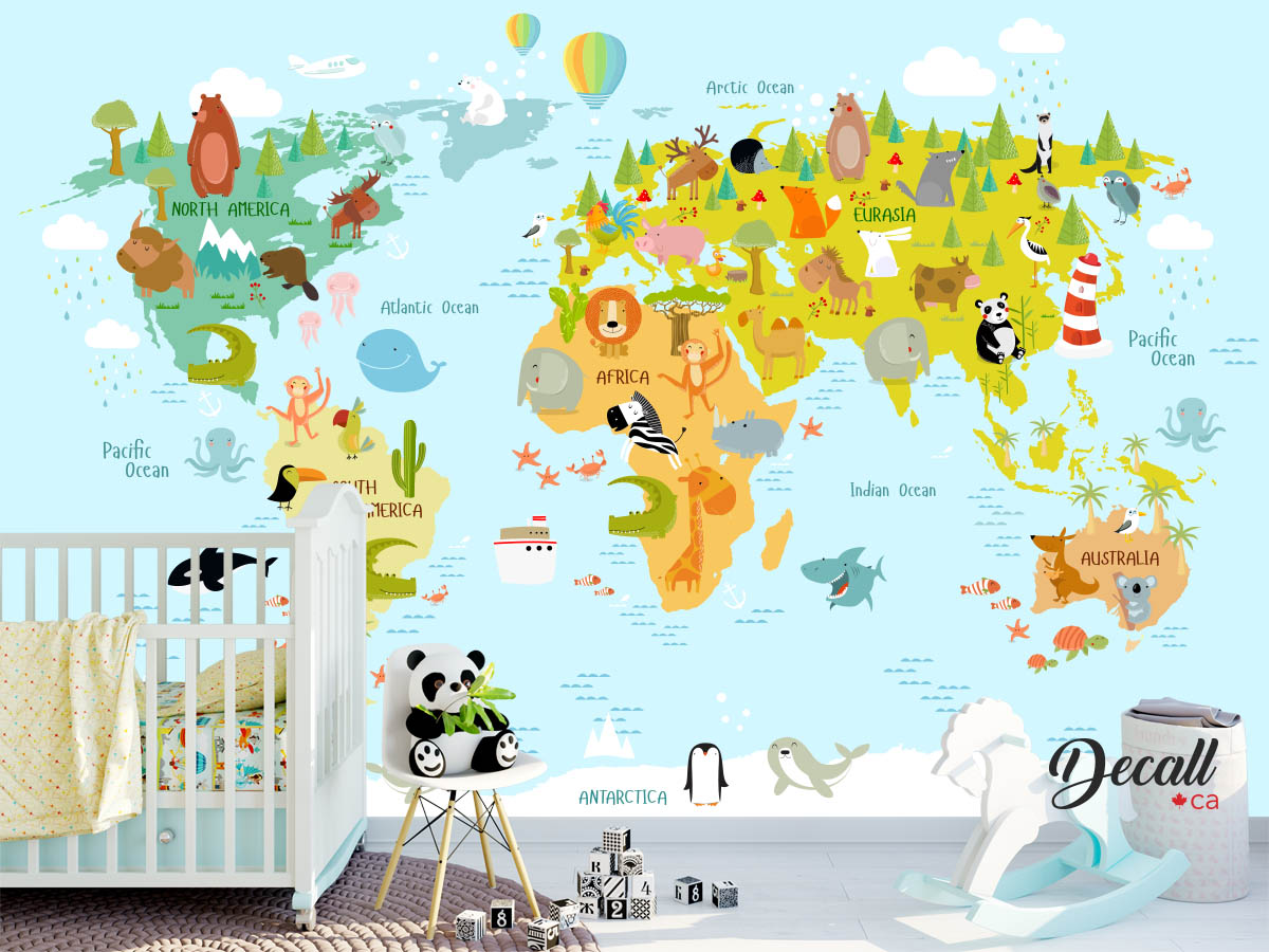 Animal World Map Wall Decal Kids Country World Map Poster Wall