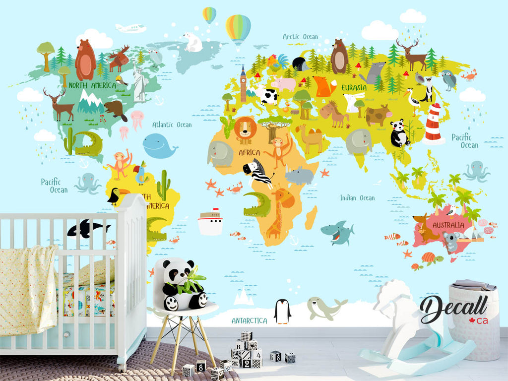 Animal World Map Wall Mural - Kids Country World Map Poster - Peel and Stick Wall Sticker - Wall-Murals - Decall.ca