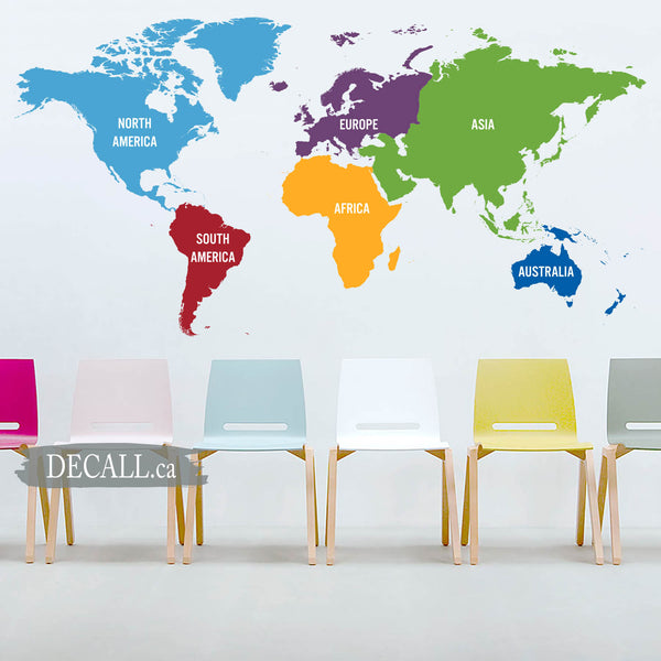 World Map Wall Decal in 6 Colours