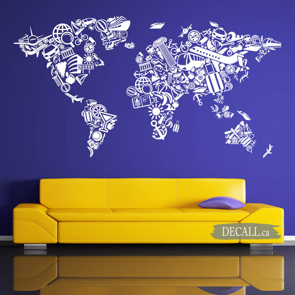 World Map of Tourism Travel Wall Decal