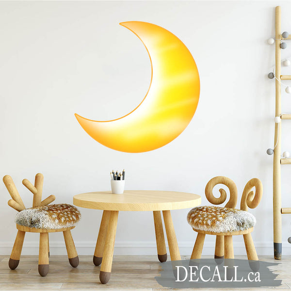 Yellow Half Moon Crescent Wall Decal Space Wall Sticker DWS1200