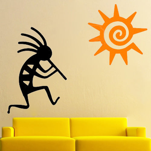 Sun Kokopelli - Tribal Tattoos - Vinyl Wall Decal - Wall-Decals - Decall.ca
