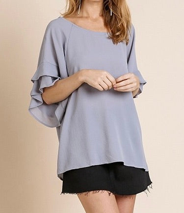 Cool Grey, Layered Ruffled Sleeve Blouse