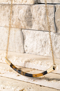 Tortoise Acetate Bar Necklace
