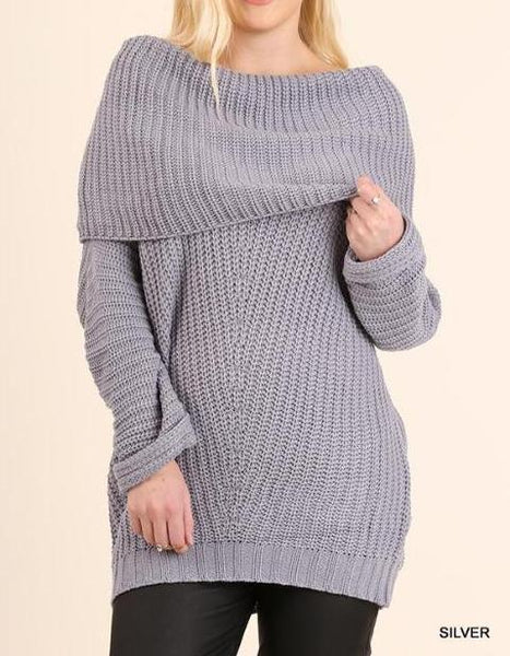 Alison, Ribbed Fold Over Sweater, Women's Plus