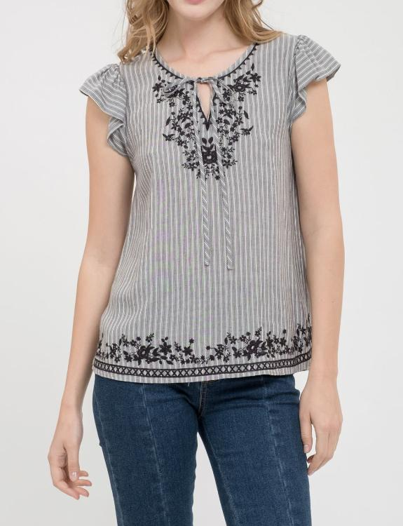 Embroidered Top with Front Tie Closure