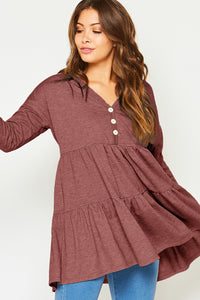 Burgundy Babydoll Knit Top  This Burgundy Knit Babydoll Top features a half-way button down closure, long sleeves, v-neckline, lightly gathered seaming at loose waist. It pairs nicely with jeans and leggings.