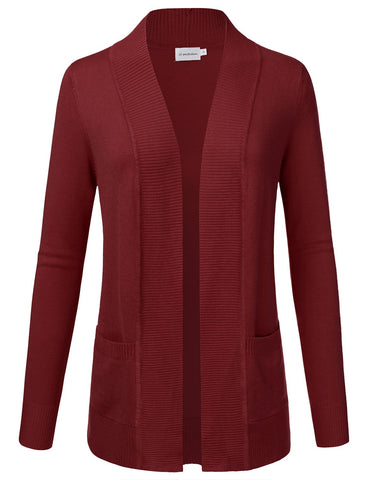 Burgundy, Open Front Cardigan with Pockets