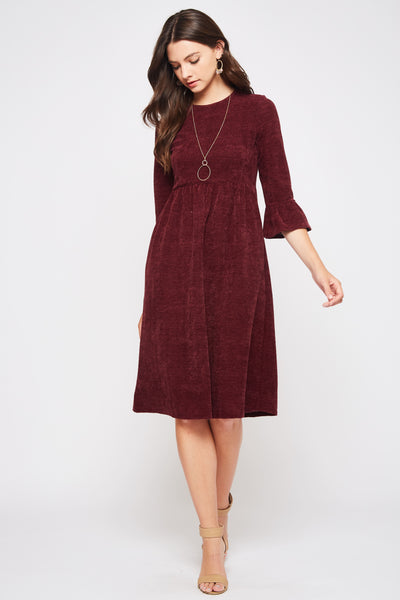 Burgundy Sweater Dress with Bell Sleeves