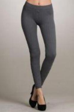 Solid textured knit legging cotton