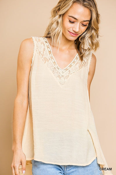 Cream Sleeveless Sheer Floral Lace Top