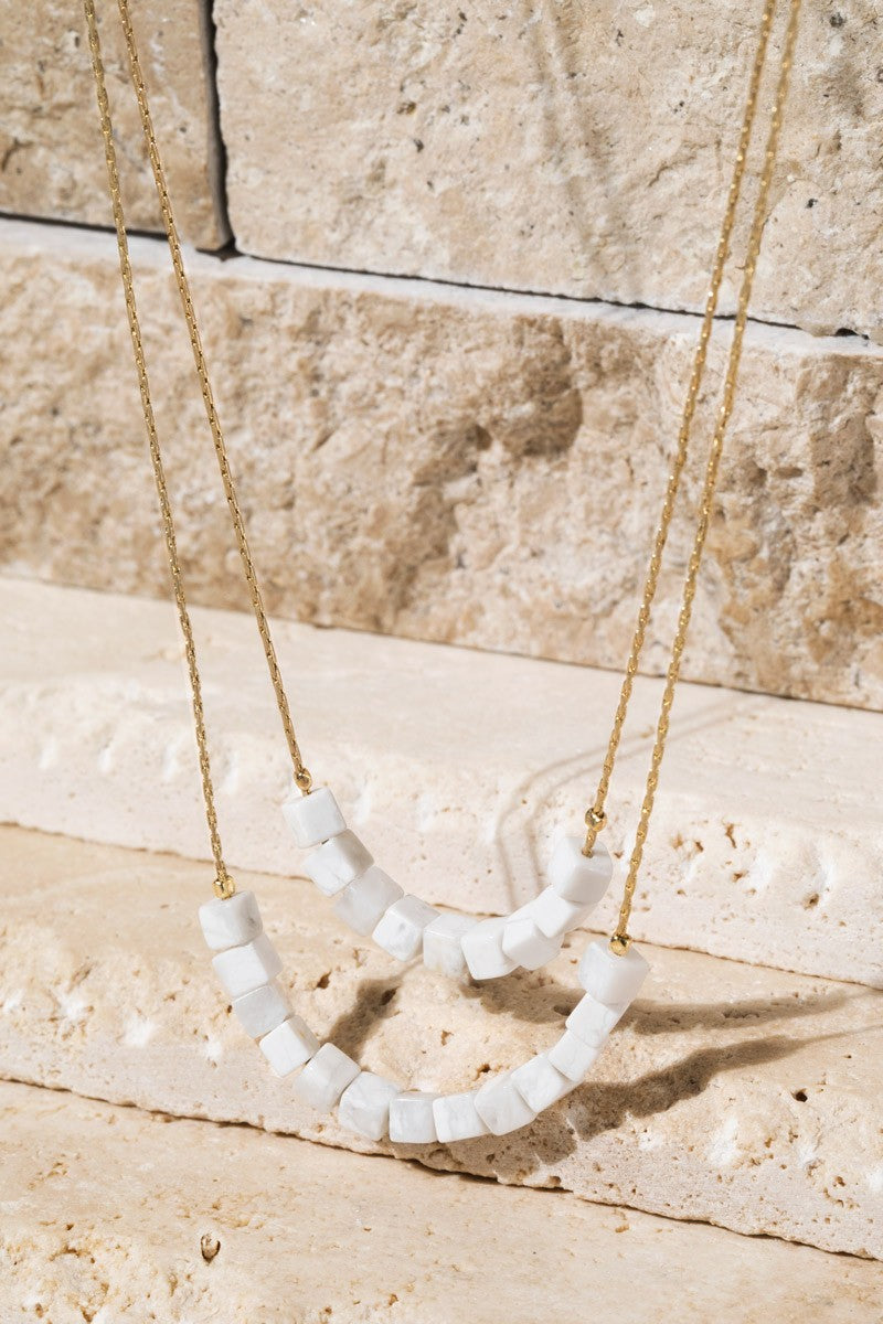 Howlite White, Double Layer Natural Stone, Cube Bead Necklace
