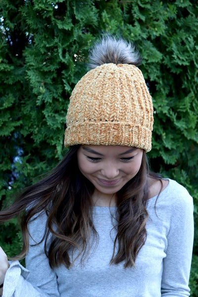 Golden, Knit Chenille Beanie with Pom Accent