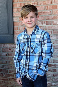 Boys Long Sleeve Button Up Shirt, Blue Multi Color