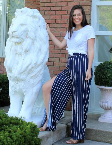 Breezy, High Waist Striped Wide Leg Pants with Slits