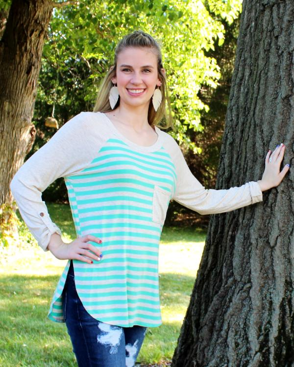 Striped Casual Top with Pocket and Rolled Up Sleeve Detail