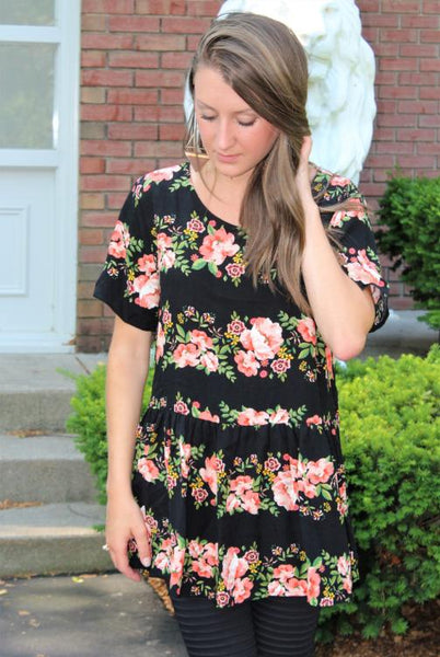Floral Print Babydoll Top with High-Low Hem
