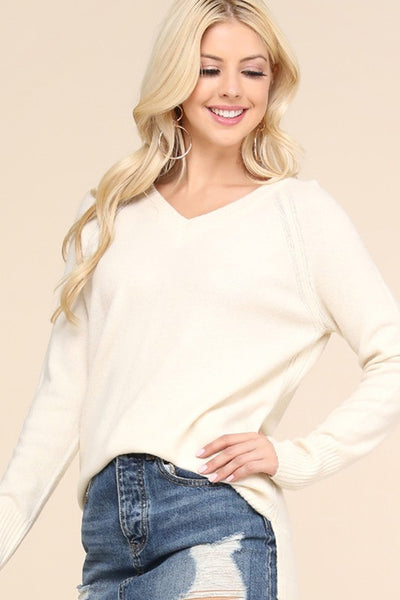 Ivory, V-Neck Sweater