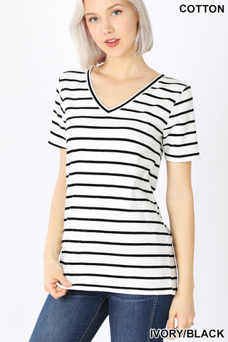 Ivory/Black, Striped V-Neck Tee