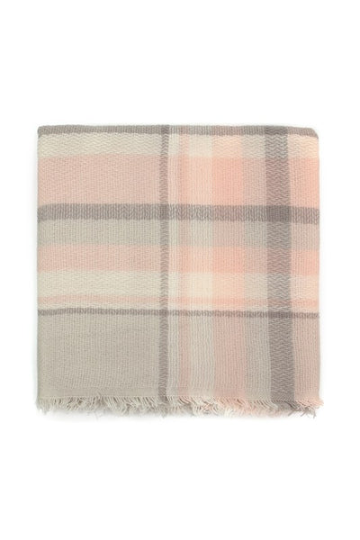 Light Gray and Pink Tartan Fringe Blanket Scarf
