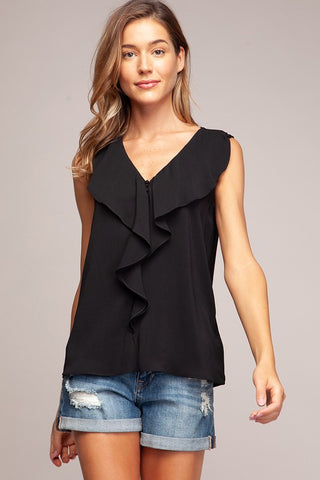 Black Sleeveless Ruffled Blouse