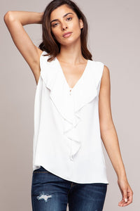Off White Sleeveless Ruffled Blouse