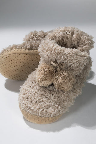 Taupe, Faux Fur Bootie/Slippers