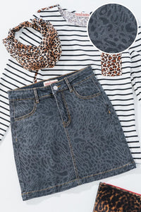 Vintage Washed Leopard Denim Mini Skirt