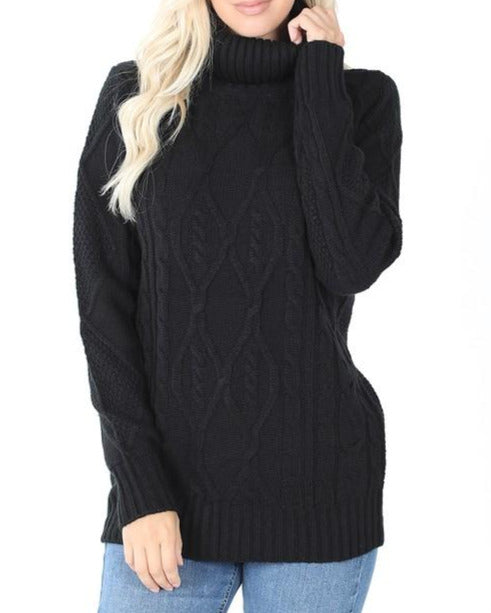 Black, Cable Knit Turtleneck Sweater