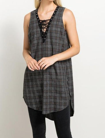 Sleeveless Plaid Tunic with Side Slits- V Neck Lace Up Plaid, Sleeveless, Side Slit Tunic, Charcoal. Pairs nicely with Jeans Jeggings, Leggings and can be accessorized with a jean jacket or cardigan when it is cooler out.