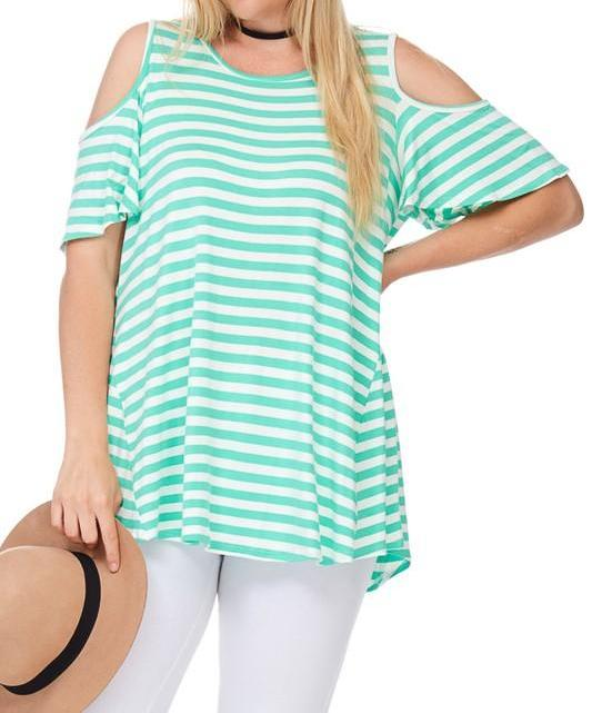 Trendy Striped Cold Shoulder Tunic in beautiful Mint color. Pairs well with jeans, shorts, leggings, jeggings, and shirts! Made from 95% Rayon and 5% Spandex for a nice loose, comfortable fit!