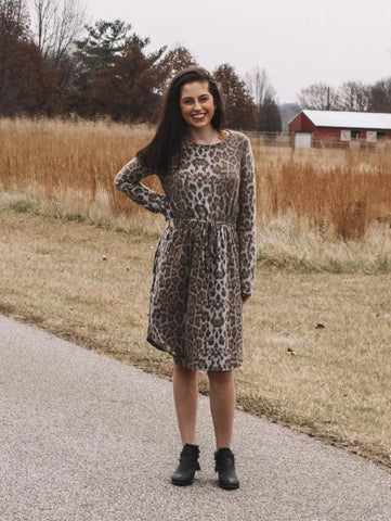 Lilah, Animal Print Knit Dress