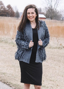Lyric, Fringe Textured, Cozy Knit Oversized Cardigan