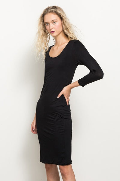 Black Body-Con Style Midi Dress, Kimberly