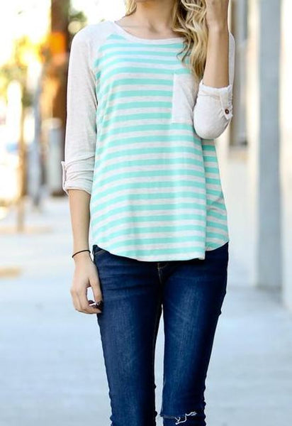 Springy Mint Striped Casual Shirt with Pocket and Rolled Up Button Sleeve Detail. Pairs well with Jeans, Jeggings and Shorts.  General Size Guide:  Small: 4/6  Medium: 8/10  Large: 12/14