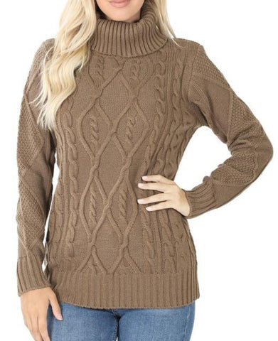 Mocha, Cable Knit Turtleneck Sweater