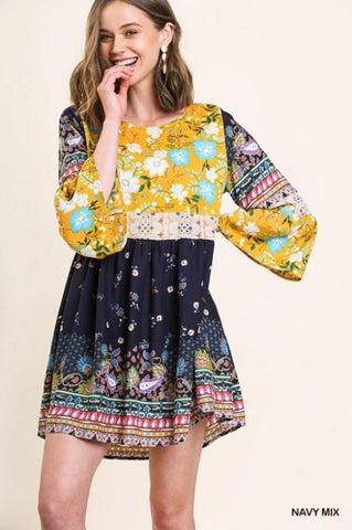 Navy/Floral Mixed Print Babydoll Dress, Roxanne