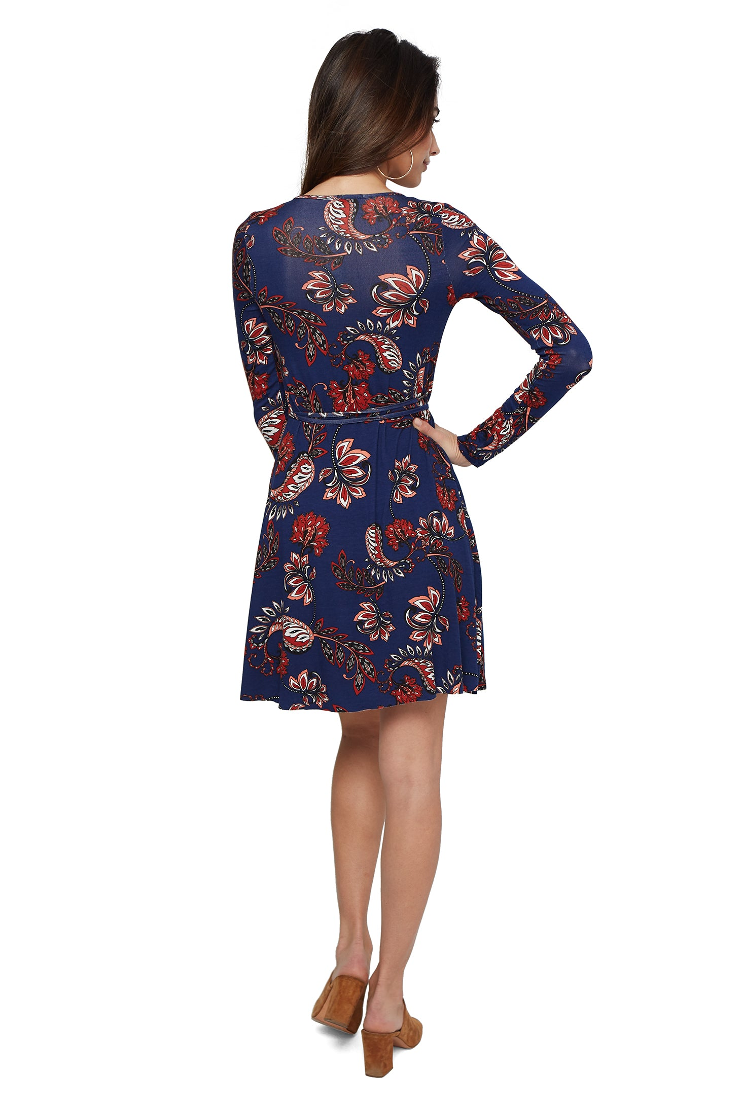 Janice Wrap Dress - Navy Plume